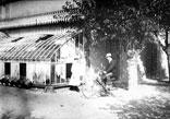 Georges Ancely en bicyclette devant la Serre