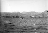 Cuirassés en rade. Croiseur à batterie Cecille, navires école Calédonien et Couronne